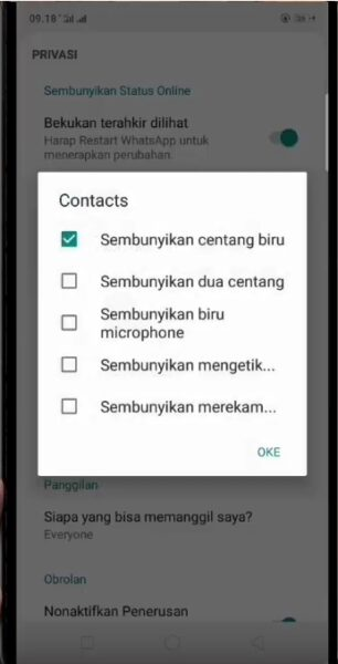 gbwhatsapp setting contact